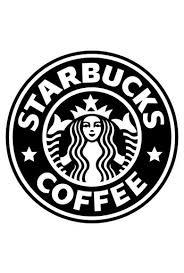 Poster Logo Starbucks Em Preto E Branco