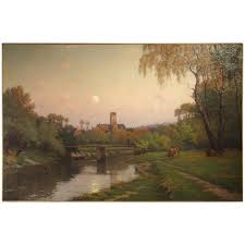 Jenss Decor Victor Ny by Antique French Landscape Painting Of A River Crossing A Village