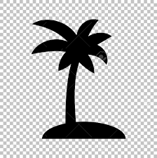 Coconut Palm Tree Sign Flat Style Icon Transparent Background