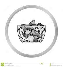Fruit salad icon in monochrome style isolated on white background Sport and fitness symbol stock vector illustration
