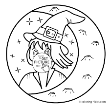 Halloween Witch With Moon Coloring Pages For Kids Printable Free