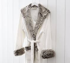 Faux Fur Robe Ivory Gray Ombre
