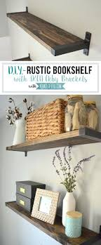 Decorative Wooden Shelves For The Wall Rustic Bookshelf With Brackets A Shade Of Teal