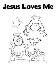 Jesus Loves Me Cute Little Angels In Love Coloring Page