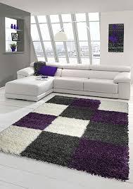 shaggy teppich hochflor langflor teppich wohnzimmer teppich gemustert in karo design lila grau beige größe 160x230 cm