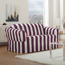 Cabana - Stripe Relaxed Fit Sofa Slipcover - Boysenberry