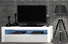 inola tv schrank tv tisch lowboard weiß hochglanz fronten led 130 cm esa home