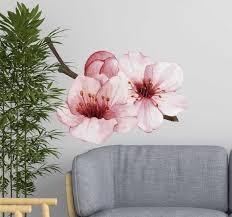 rosa blumen wohnzimmer wandtattoo