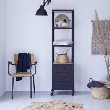 hochschrank für badezimmer aus metall und mangoholz 170 industriel