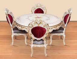 casa padrino barock esszimmer set bordeauxrot grau weiß gold 1 runder esstisch 4 esszimmerstühle prunkvolle esszimmer möbel im barockstil
