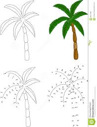 Cartoon Coloring Dot Educational Game Illustration Palm Tree
