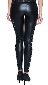 black faux leather bra top and punk black pvc dancing legging