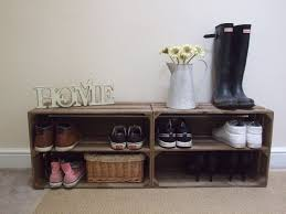Appealing Wood Crate Shelf Ideas Shoe Bench From Decorative Full Size