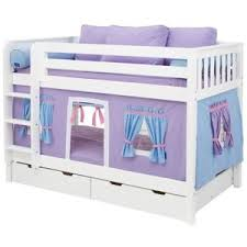 Hot Shot Girl Twin over Twin Tent Bunk Bed Trundle Beds at