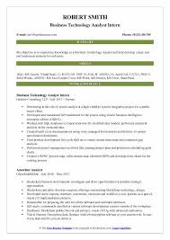 Business Technology Analyst Intern Resume Sample