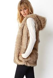 forever 21 favorite faux fur vest in brown lyst