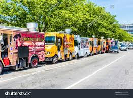 Washington DC, USA - July 3, 2017: Food Trucks On Street By National ...