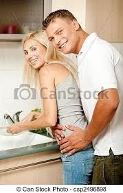 couples amour cuisine lune miel amour cuisine appareil photo revêtement images