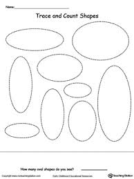 1 Page Worksheet Trace And Count Oval Shapes