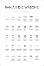premium poster wasch pflegesymbole typobox