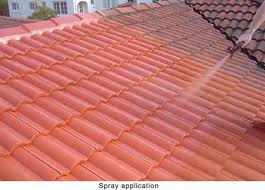 spray painting concrete roof tiles before and after