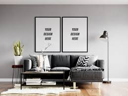 wohnzimmer poster frame wall mockup premium psd datei