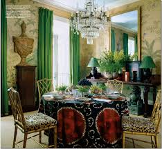 Uber Talented Miles Redd Paired Exquisite De Gournay Wallpaper With A Trendy Suzani And Luscious Green Silk Panels Greek Key Trim