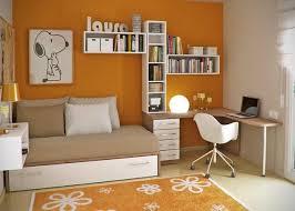 Modern Children Bedroom Design With Orange Wall And Floor Rug