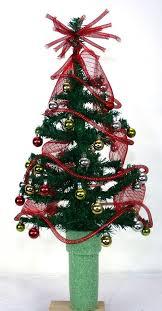 Mini Christmas Red Tinsel Tree For 3 Inch Cemetery Vase Flower Arrangement Grave Flowers