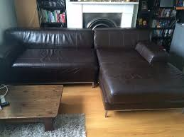 ikea kramfors sofa and pouf dark brown leather in finsbury park