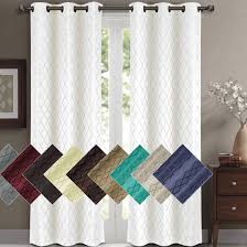 120 Inch Length Blackout Curtains by Willow Geometric Thermal Blackout Grommet Top Curtain Panels Pair