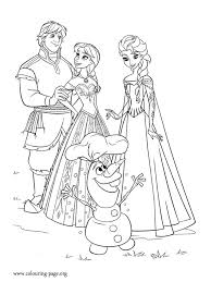 Anna Kristoff Elsa And Olaf Happy Coloring Page