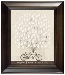 Unique Custom Wedding Gift Guest Book Rustic Style Guestbook Alternative Tandem Bicycle W Balloons Keepsake Engagement