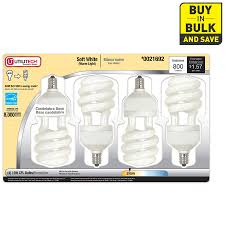 shop utilitech 4 pack 60w equivalent soft white cfl decorative