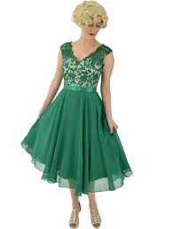 Green Lace And Chiffon Cocktail Party Dress