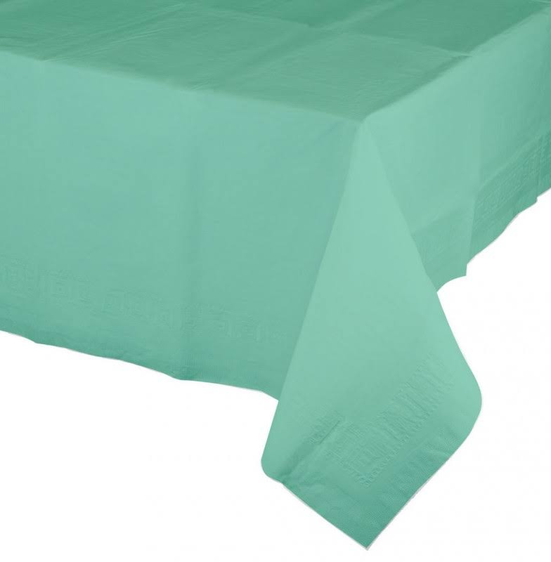 "Touch of Color Tissue Tablecover - Poly Backing, Fresh Mint, 1ct, 54""x 108"""