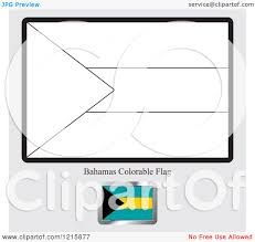 Clipart Of A Coloring Page And Sample For Bahamas Flag