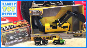 Construction Trucks For Kids 🚧 Tonka Steel Trencher Backhoe ...