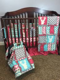 Woodland Baby Girl Quilts and Nursery Bedding with Deer Heads