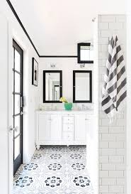 los angeles black and white bathroom scandinavian with subway tile