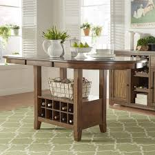 Tuscany Brown Wood Wine Rack Counter Height Extending Dining Table By INSPIRE Q Classic
