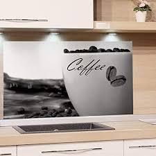grazdesign herdblende coffee glasbilder kaffeetasse küchenrückwand glas schwarz weiß 80x40cm