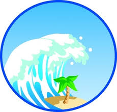 Tsunami Clipart Image Tidal Wave or Tsunami Wave About to Devastate a Beach with a