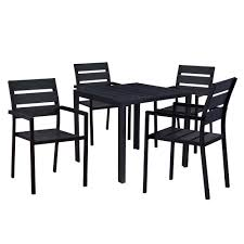 100 Modern Metal Chair Contemporary 5Piece Black Square Outdoor Dining Set With Faux Wood And Stackable S
