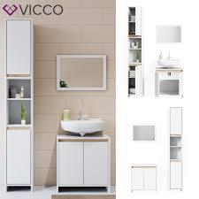 vicco badmöbel set weiß sonoma eiche spiegel unterschrank hochschrank