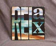 Beach Relax Pallet Wall Art Decor Hand By TheWhiteBirchStudio