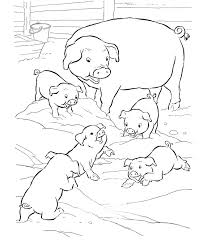 Family A Happy Pig Coloring Pages