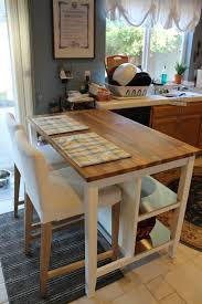 Enthralling Tall Kitchen Island Cart With Yellow And Blue Plaid Placemats On Butcher Block Countertops Also