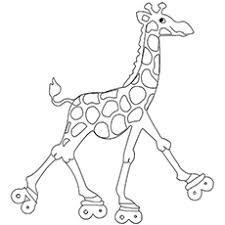 Giraffe On Roller Skates With Big Eyes Printable Coloring Sheet