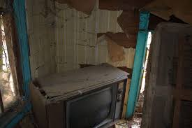 Screven County GA Abandoned Farmhouse Interior 1970s Console Television Yellow Wall Paper Photograph Copyright Brian Brown
